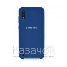 Силиконовая накладка Silicone Case для Samsung A01 2020 A015 Navy Blue