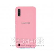 Силиконовая накладка Silicone Case для Samsung A01 2020 A015 Pink