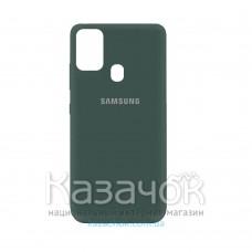 Силиконовая накладка Silicone Case для Samsung A21s 2020 A217 Dark Green