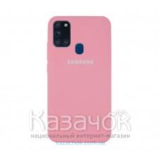 Силиконовая накладка Silicone Case для Samsung A21s 2020 A217 Pink