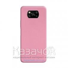 Силиконовая накладка Silicone Case для Xiaomi Poco X3 Pink