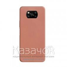Силиконовая накладка Silicone Case для Xiaomi Poco X3 Pink Sand