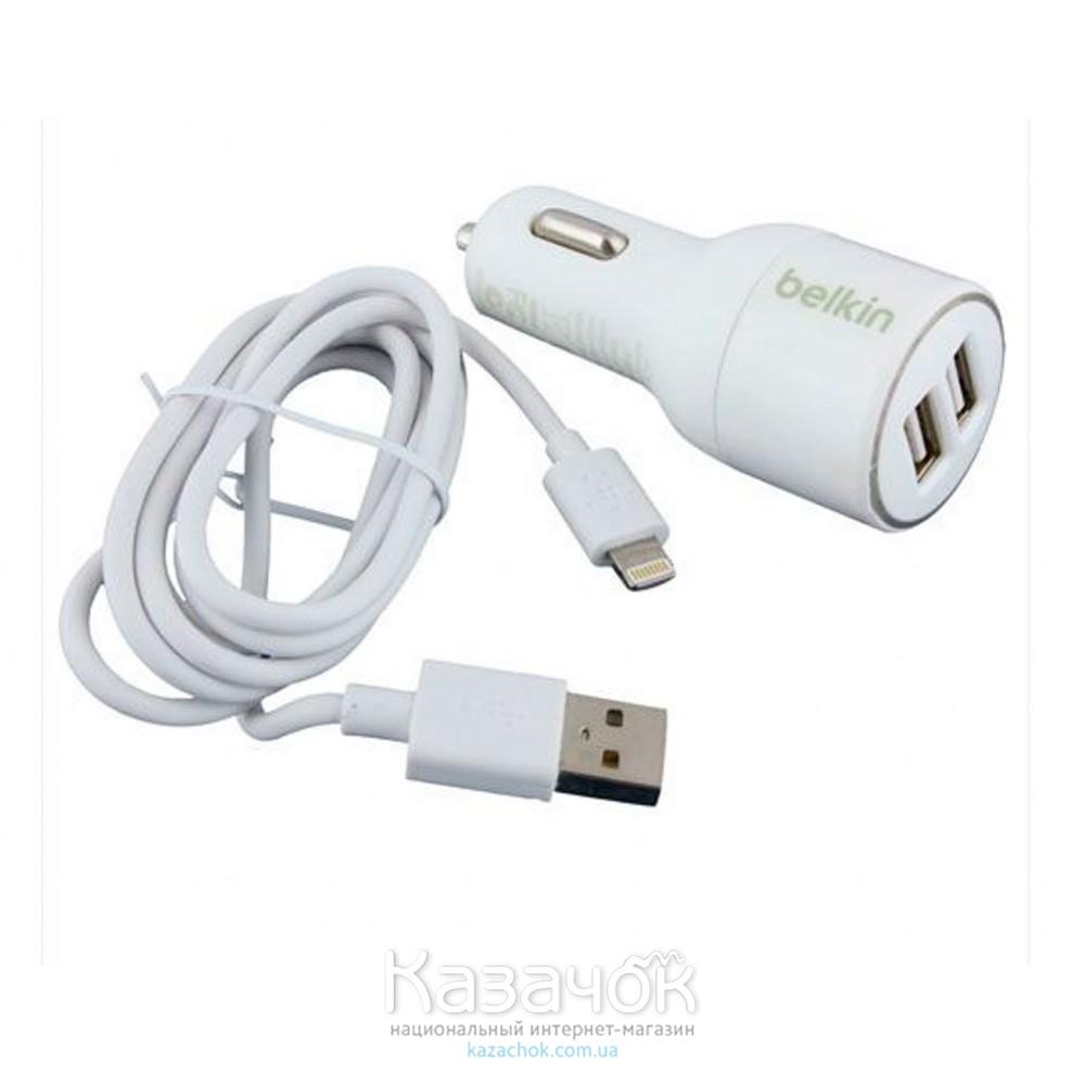 Автомобильное зарядное устройство Belkin 2 USB 2A + USB кабель iPhone 5/6 White