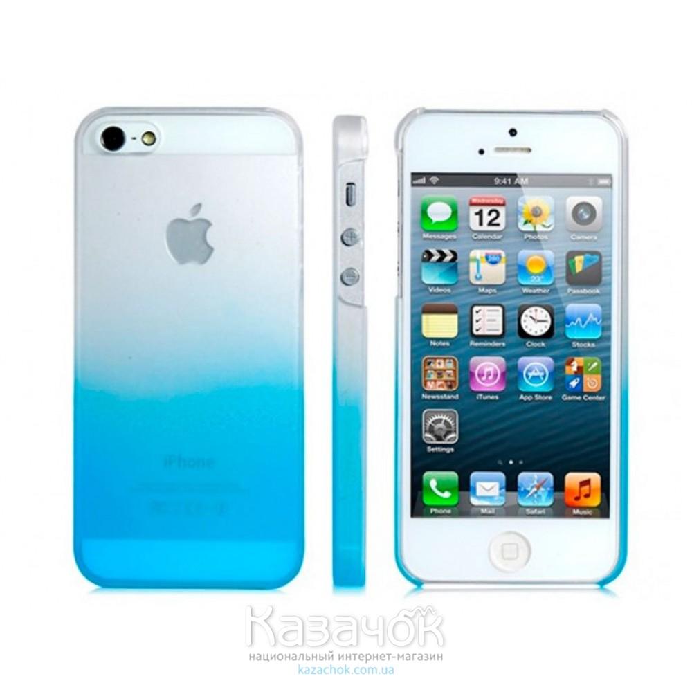 Силиконовая накладка iPhone 5/5S Gradient Blue/White