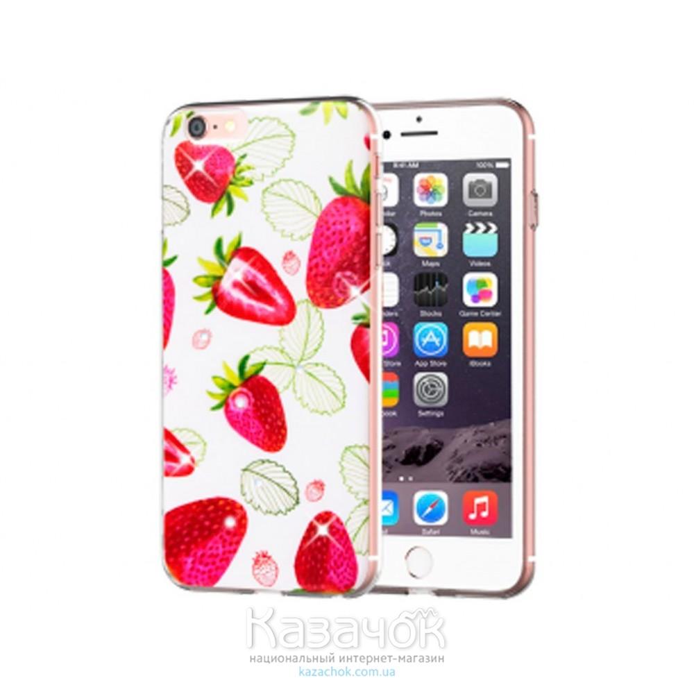Силиконовая накладка Diamond Silicon Cocktail-series iPhone 5/5S Strawberry