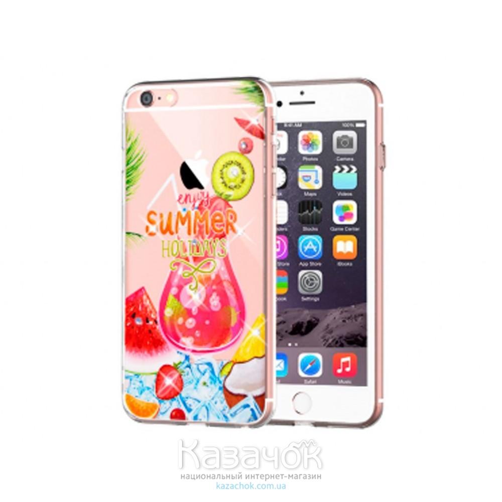 Силиконовая накладка Diamond Silicon Cocktail-series iPhone 5/5S Summer Cocktails