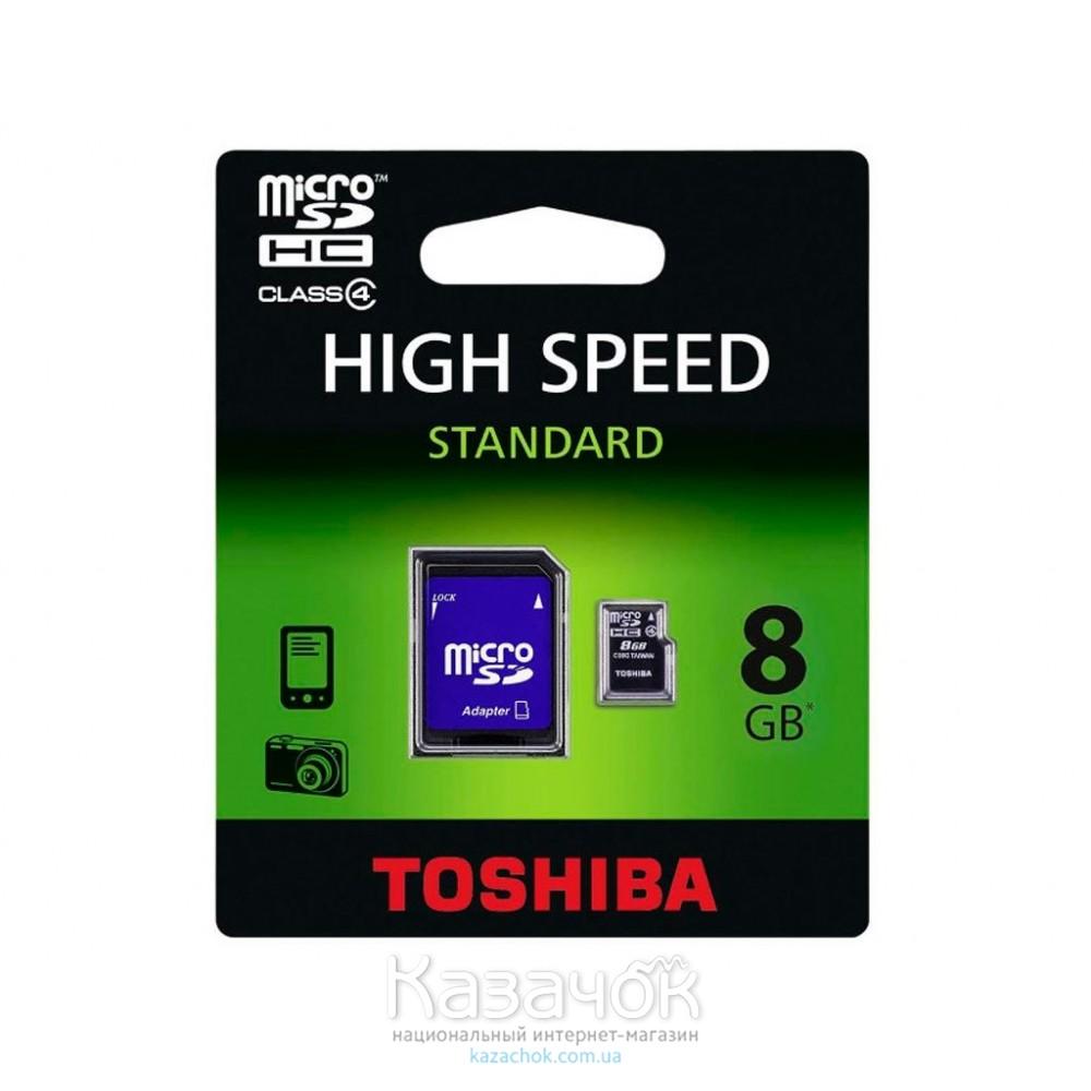 Карта памяти MicroSDHC 8GB Toshiba Class 4 + SD Adapter