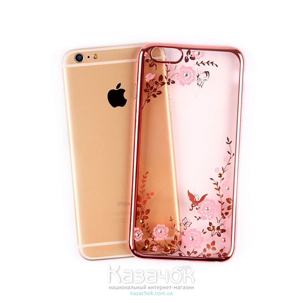 Силиконовая накладка Swarovski iPhone 6/6S Flowers Rose