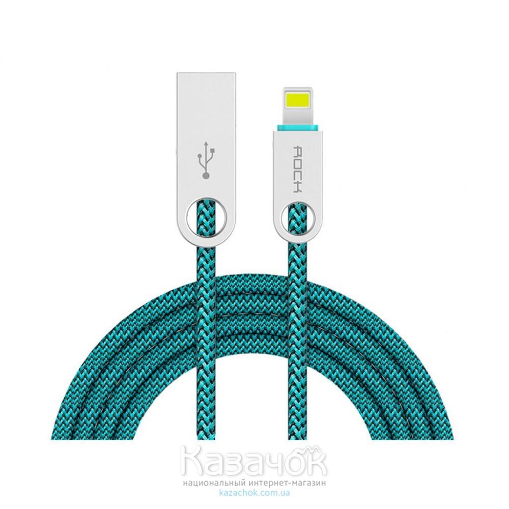 USB кабель Rock Cobblestone Round Lightning Green
