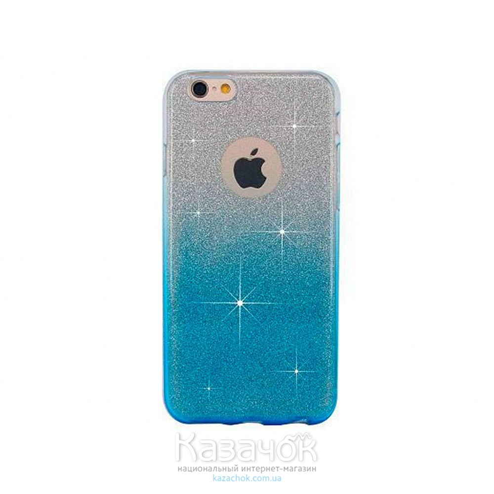 Силиконовая накладка iPhone 6/6S Glitter Gradient Blue