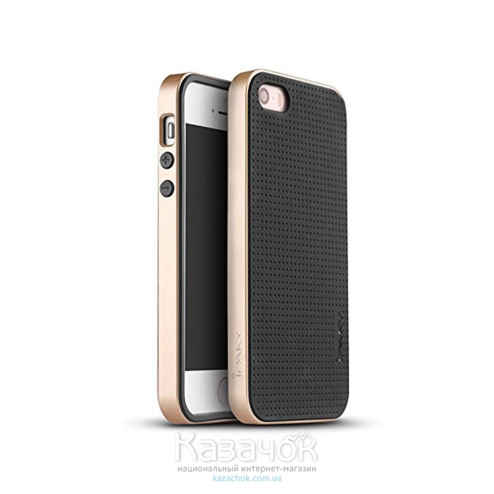 Силиконовая накладка iPhone 5/5S iPaky TPU+PC Gold
