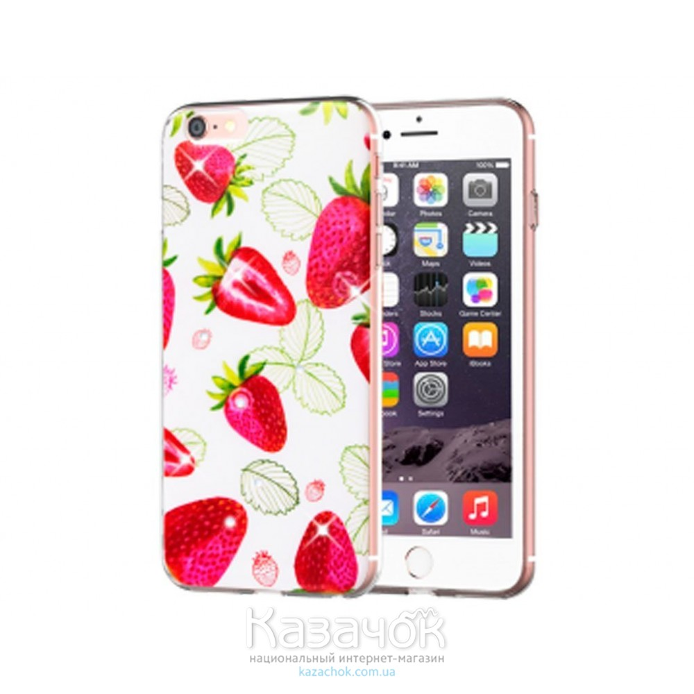 Cиликоновая накладка Diamond Silicon Cocktail-series iPhone 7 Plus Strawberry