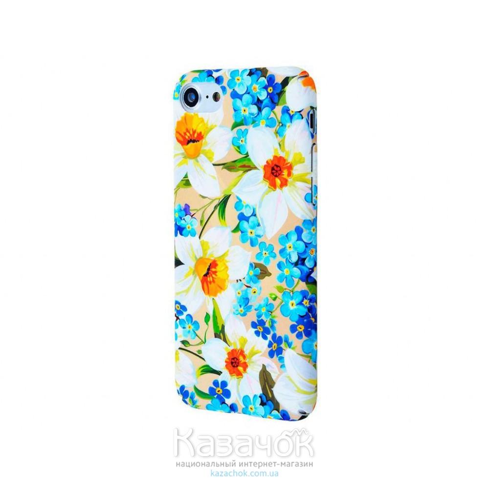 Пластиковая накладка iPhone 7 Ibasi Flowers Soft Touch Narcisus