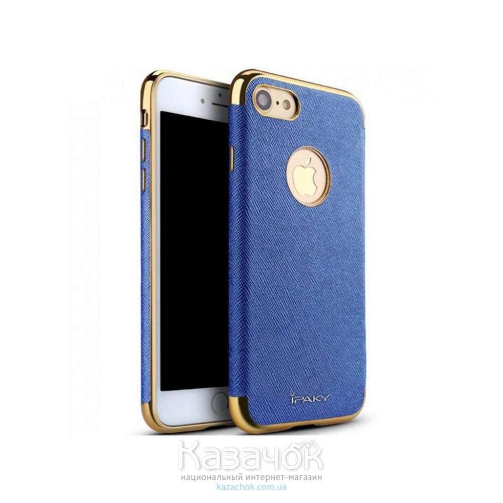 Силиконовая накладка iPhone 7 iPaky Leather with Chrome Blue