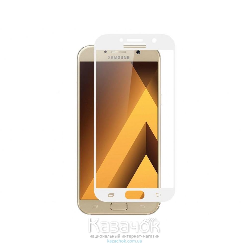 Защитное стекло Samsung A7 A720 Full Screen White