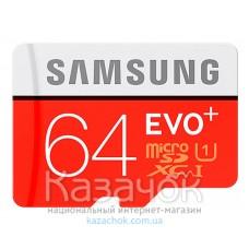 Карта памяти Samsung EVO Plus microSDXC UHS-I 64GB сlass10 +SD адаптер (MB-MC64GA/RU)