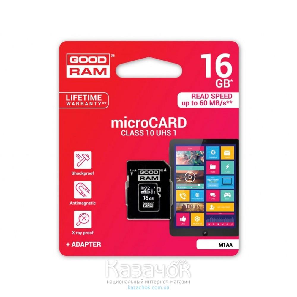 Карта памяти MicroSDHC 16GB Goodram UHS-I Class 10 + SD Adapter