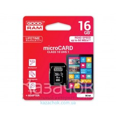 Карта памяти MicroSDHC 16GB Goodram UHS-I Class 10 + SD Adapter