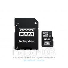 Карта памяти MicroSDHC 16GB Class 4 GOODRAM + SD adapter (M40A-0160R11)