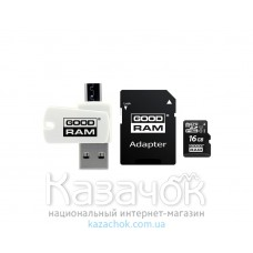 Карта памяти Goodram MicroSDHC 16GB Class 10 UHS-I SD-adapter+OTG Card reader (M1A4-0160R11)