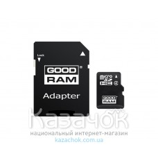 Карта памяти MicroSDHC 4GB Class 4 GOODRAM + SD-adapter (M40A-0040R11)