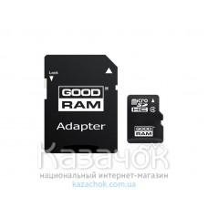 Карта памяти MicroSDHC 8GB Class 4 GOODRAM + SD-adapter (M40A-0080R11)