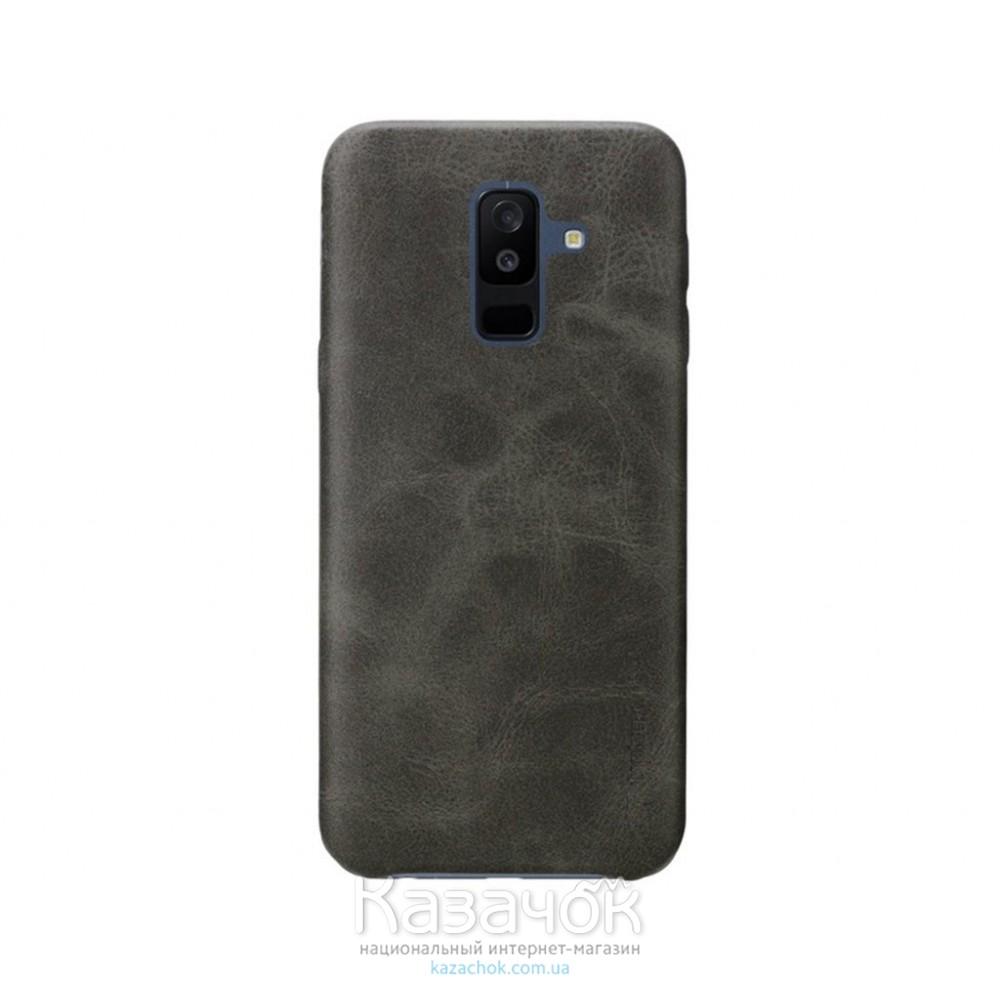 Кожанная накладка T-PHOX Samsung A8 Plus 2018/A730 Vintage Brown