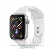 Apple Watch Series 4 GPS 44mm Silver Aluminium Case with White Sport Band (MU6A2)