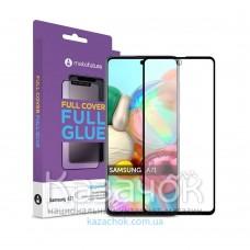 Защитное стекло Full Glue для Samsung A71/A715 5D Black