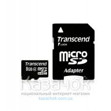 MicroSDHC 8 GB Transcend Class 10 + SD Adapter