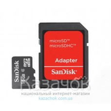 MicroSDHC 16 GB SanDisk Class 4 + SD Adapter